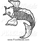 March 27th, 2015: Clipart of a Black and White Koi Fish Swimming by Lineartestpilot