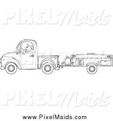 Clipart of a Black and White Man Driving a Pickup with a Tent Trailer by Djart
