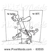 Clipart of a Black and White Man Stuck in a Room with No Exit by Toonaday