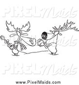 Clipart of a Black and White Moose and Elk Jamming in the Snow by Toonaday