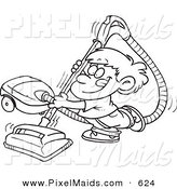 Clipart of a Black and White Outline Art Design of a Happy Boy Using a Vacuum by Toonaday