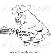 Clipart of a Black and White Pig Carrying a Sandwich by Toonaday