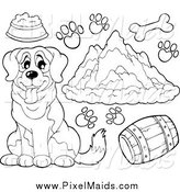 Clipart of a Black and White St Bernard Dog, Supplies Prints and Mountains by Visekart