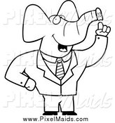 Clipart of a Black and White Talking Elephant Businessman by Cory Thoman
