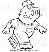 Clipart of a Black and White Walking Builder Boar by Cory Thoman