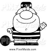 Clipart of a Black and White Waving Chubby Short Convict by Cory Thoman