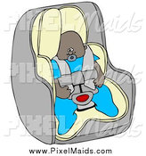 Clipart of a Black Baby Boy in a Car Seat by Djart