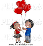 Clipart of a Black Boy Giving Heart Shaped Balloons to a Girl by BNP Design Studio