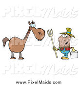 Clipart of a Black Farmer by a Horse by Hit Toon