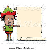 Clipart of a Black Girl Elf Presenting a Blank List Sign by Cory Thoman