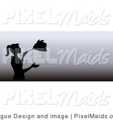 Clipart of a Black Silhouetted Housekeeper Dusting on a Gradient Grayscale Website Banner by Pams Clipart