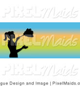 Clipart of a Black Silhouetted Housekeeper Woman Dusting on a Gradient Website Banner by Pams Clipart