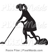 Clipart of a Black Silhouetted Housekeeper Woman Vacuuming a Floor by Rosie Piter