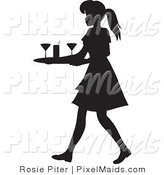 Clipart of a Black Silhouetted Maid or Waitress Woman Carrying a Tray of Cocktail Glasses by Rosie Piter