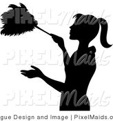 Clipart of a Black Silhouetted Maid Using a Feather Duster by Pams Clipart