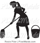 Clipart of a Black Silhouetted Maid Woman with a Mop and Bucket, Mopping a Floor by Rosie Piter