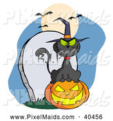 Clipart of a Black Witch Cat Sitting on a Jackolantern by a Tombstone by Hit Toon