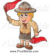 Clipart of a Blond White Scout Boy Waving Red Flags by Visekart
