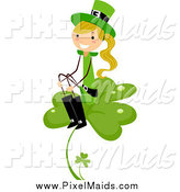 Clipart of a Blond White St Patricks Day Stick Girl Sitting on a Clover by BNP Design Studio