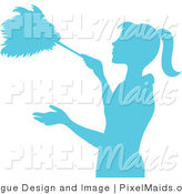 Clipart of a Blue Silhouetted Housekeeper Dusting with a Feather Duster by Pams Clipart