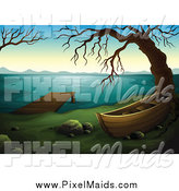 Clipart of a Boat Dock and Bare Tree on a Lake by Graphics RF