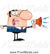 Clipart of a Bossy Caucasian Businessman Shouting Through a Megaphone by Hit Toon