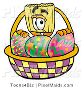 Clipart of a Broom Mascot Cartoon Character Behind an Easter Basket Full of Decorated Easter Eggs by Toons4Biz