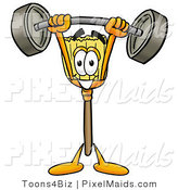 Clipart of a Broom Mascot Cartoon Character Holding Heavy Barbell Weights Above His Head by Toons4Biz