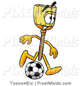 Clipart of a Broom Mascot Cartoon Character Kicking a Black and White Soccer Ball by Toons4Biz