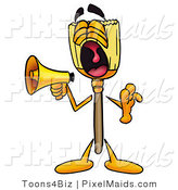 Clipart of a Broom Mascot Cartoon Character Screaming Loudly into a Megaphone by Toons4Biz
