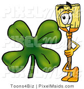 Clipart of a Broom Mascot Cartoon Character with a Green Four Leaf Shamrock on St Paddy's or St Patricks Day by Toons4Biz