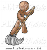 Clipart of a Brown Businessman Wearing a Tie, Using a Mop While Mopping a Hard Floor to Clean up a Mess or Spill by Leo Blanchette