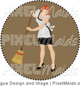 Clipart of a Brown Circle Around a Red Haired Maid Sweeping the Floor by Pams Clipart