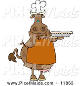 Clipart of a Brown Cow Baker Holding a Freshly Baked Pie by Djart