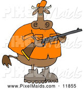 Clipart of a Brown Male Cow Hunter Holding a Hunting Rifle by Djart