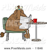 Clipart of a Brown Male Cow Reading the Daily Newspaper with Coffee by Djart