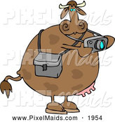 Clipart of a Brown Photographer Cow Taking Photographes with a Digital Camera by Djart