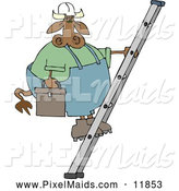 Clipart of a Brown Repairman Cow Climbing up a Ladder with a Toolbox by Djart