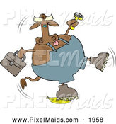 Clipart of a Brown Repairman Cow Slipping on a Banana by Djart