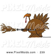 Clipart of a Brown Thanksgiving Turkey Spraying Feathers out of a Pressure Washer by Djart