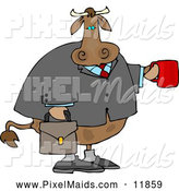 Clipart of a BrownBusiness Cow Carrying a Briefcase and Holding a Cup of Coffee by Djart