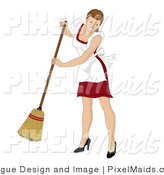 Clipart of a Brunette Caucasian Maid Smiling and Sweeping with a Broom by Pams Clipart