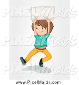 Clipart of a Brunette White Boy Jumping with a Sign by Graphics RF