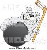 Clipart of a Bulldog Grabbing a Hockey Puck by Toons4Biz