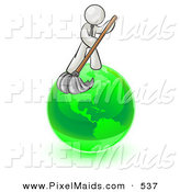 Clipart of a Business Man Using a Wet Mop with Green Cleaning Products to Clean up the Environment of Planet Earth by Leo Blanchette