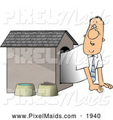 Clipart of a Businessman Put in the Doghouse by Djart