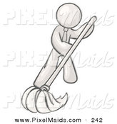 Clipart of a Businessman Wearing a Tie, Using a Mop While Mopping a Hard Floor to Clean up a Mess or Spill by Leo Blanchette