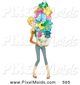 Clipart of a Busy Mom Carrying a Huge Pile of Laundry on White by BNP Design Studio