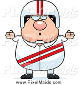 Clipart of a Careless White Male Shrugging Race Car Driver by Cory Thoman