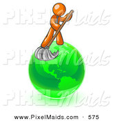 Clipart of a Caring Orange Man Using a Wet Mop with Green Cleaning Products to Clean up the Environment of Planet Earth by Leo Blanchette